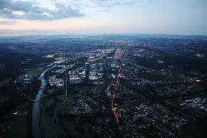 Osnabrück im Morgenlicht nach Start in Atterheide